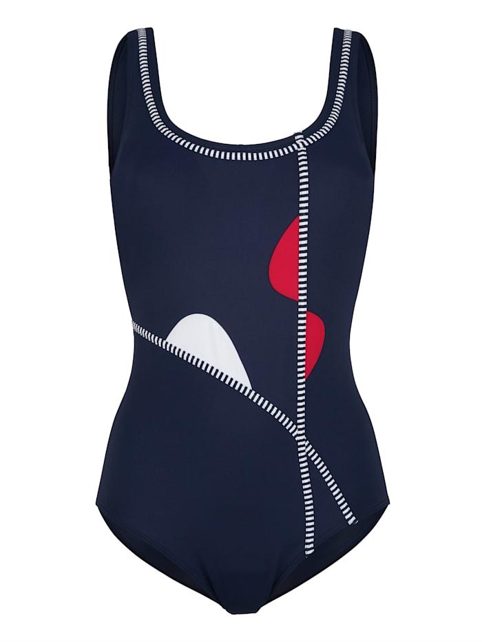Maritim Badeanzug im maritimen Stil, Marineblau/Rot/Weiß