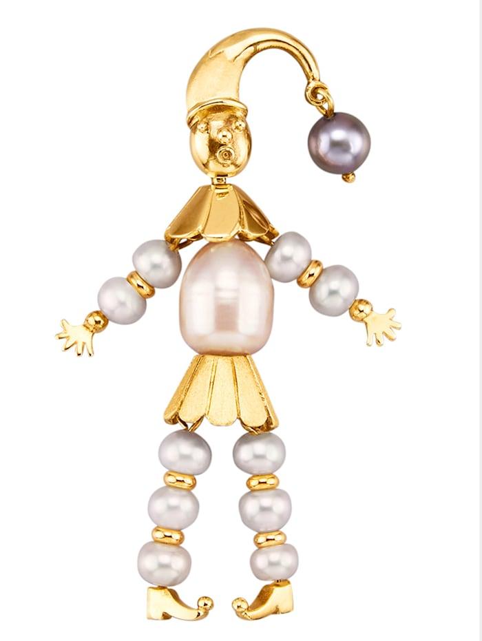 Diemer Perle Harlekin-Anhänger mit Süßwasser-Zuchtperlen, Weiß