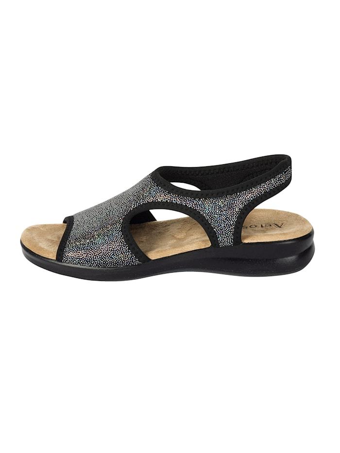 AEROSOFT Stretch-Sandale, Schwarz