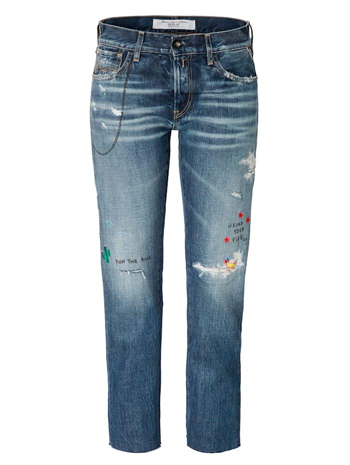 REPLAY Boyfriend-Jeans, Blau