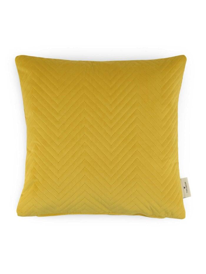 Tom Tailor Kissenhülle aus Samt mit Zickzack-Steppung, gelb