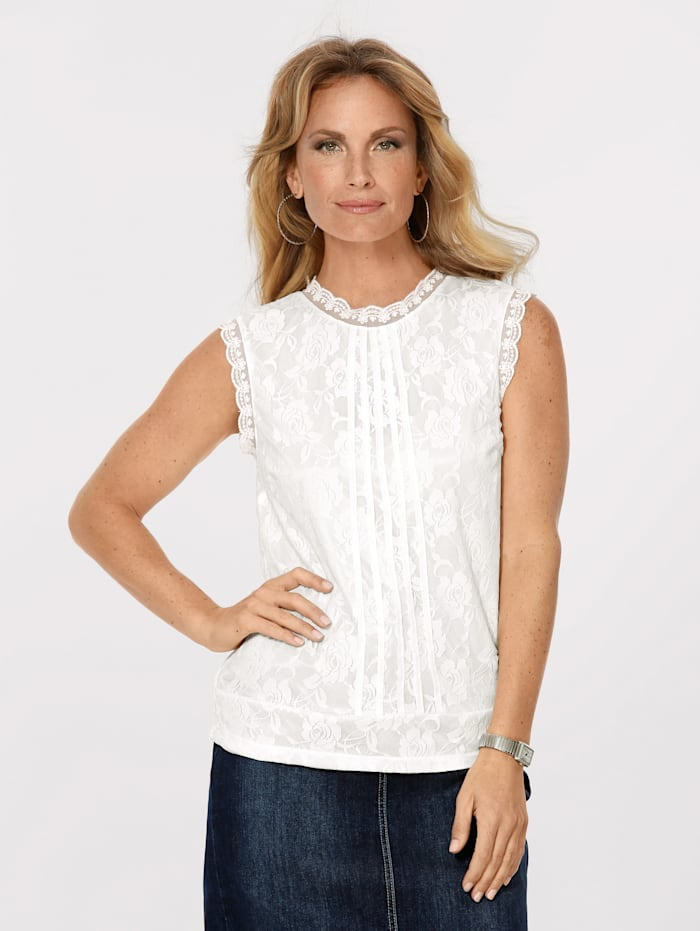 MONA Lace top with pintuck detailing, Ecru