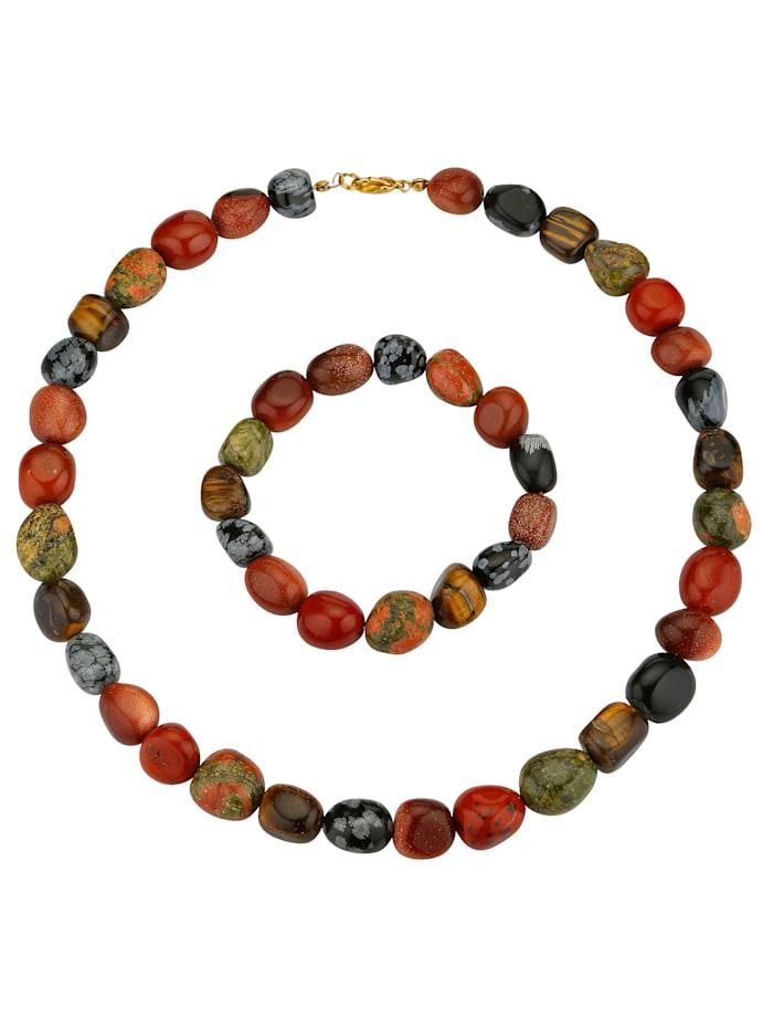 Parure 2 pièces: collier et bracelet, Multicolore
