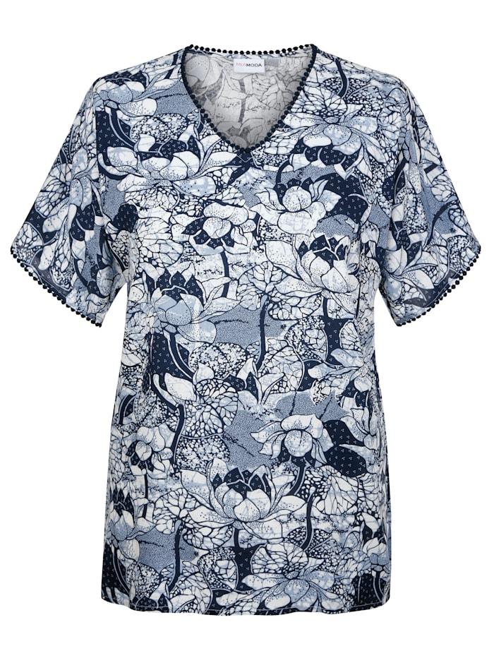 MIAMODA Tunika s háčkovanou krajkou, Modrá/Bílá
