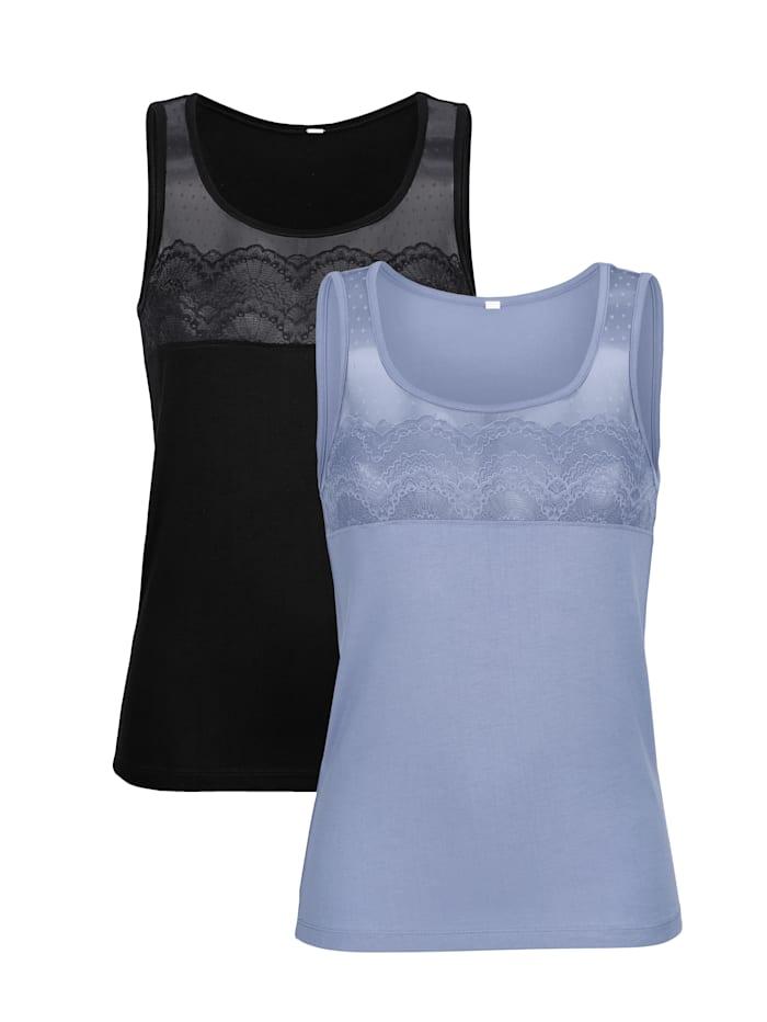 Blue Moon Blazershirt met romantisch kantmotief 2 stuks, 1x zwart, 1x blauw