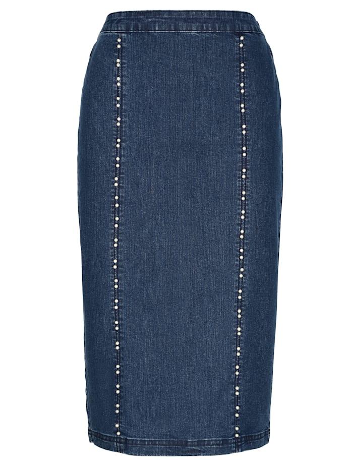 Jeansskjørt med perlepynt