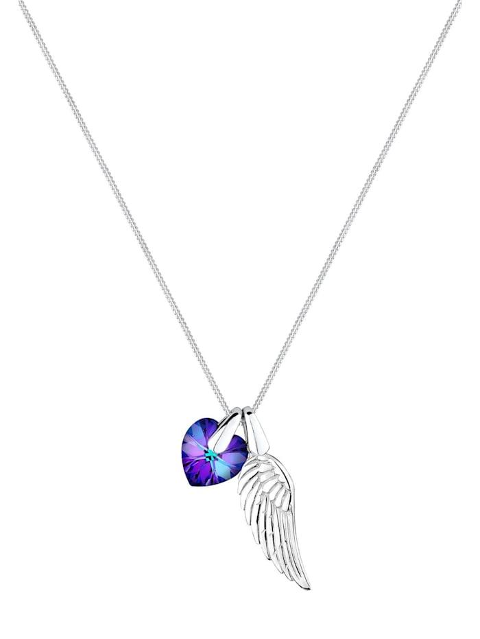 Halskette Flügel Herz Schutz Kristalle 925 Silber
