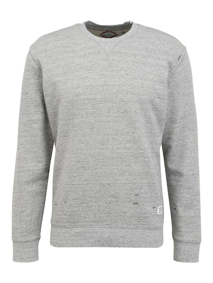 REPLAY Sweatshirt im Destroyed-Look, moulinè grey melange