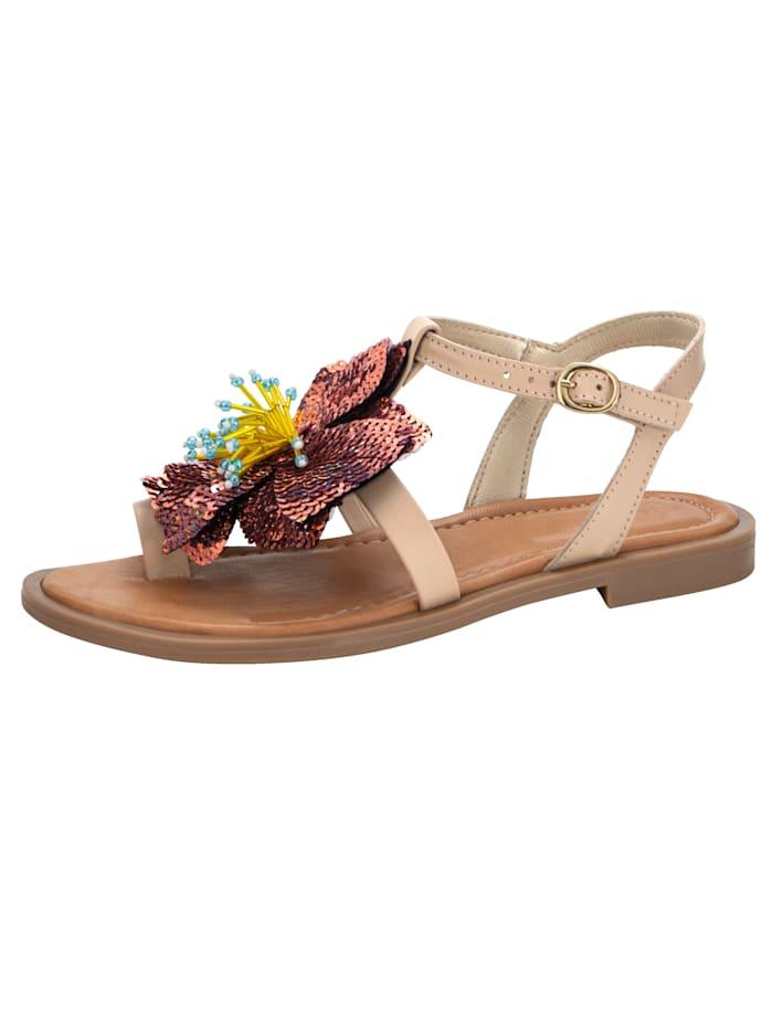Sandale mit imposanter Blüten-Applikation