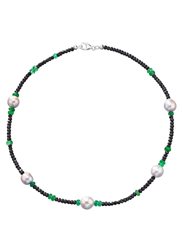 Spinellkette mit Smaragden