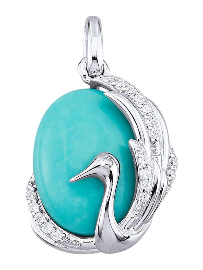 Pendentif avec turquoise et zirconia, Bleu