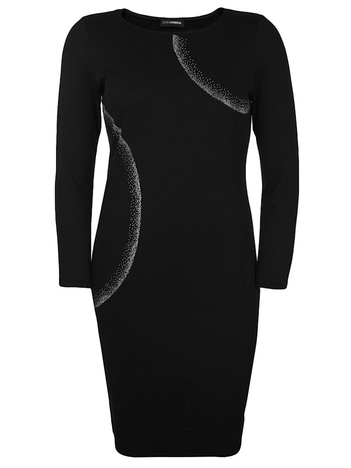 Doris Streich Jerseykleid mit Karree-Ausschnitt, Schwarz
