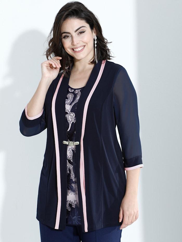 m. collection 2-in-1 Shirt durch Shirtjacke und integriertes Top, Marineblau/Rosé