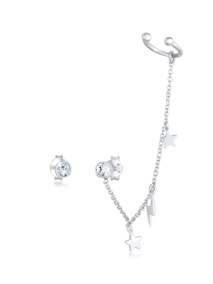 Elli Ohrringe Stecker Kristalle Earcuff Stern Blitz 925 Silber, Silber