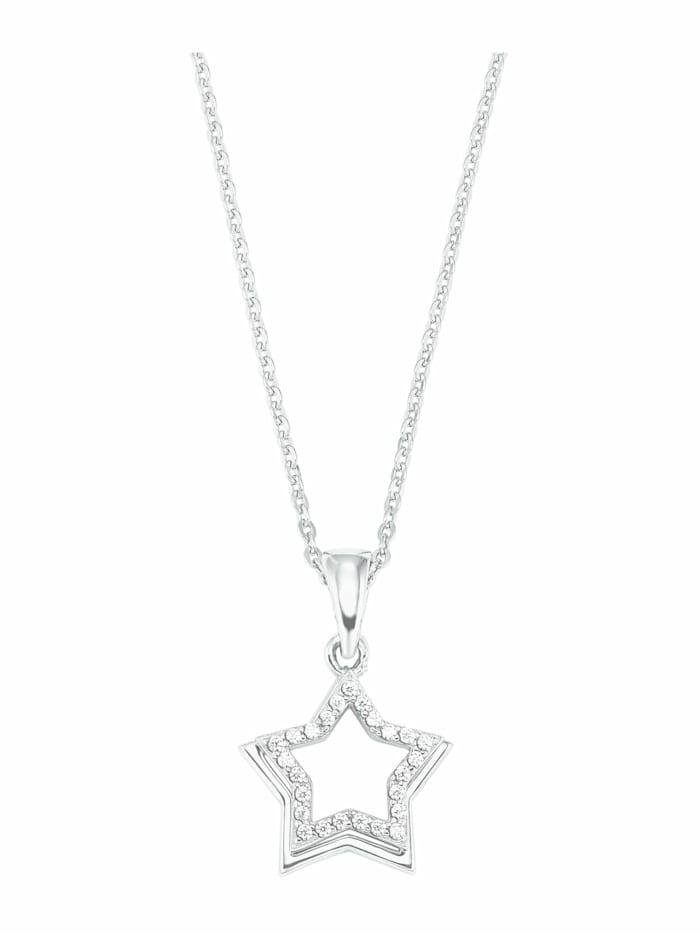 amor Kette mit Anhänger für Damen, Sterling Silber 925, Zirkonia Stern, Silber