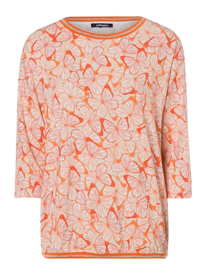 Olsen Rundhalsshirt mit Schmetterlings-Druck, Deep Orange