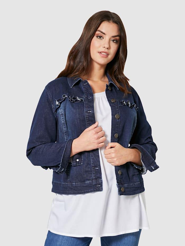Angel of Style Jeansjacke mit Rüschen, Dark blue