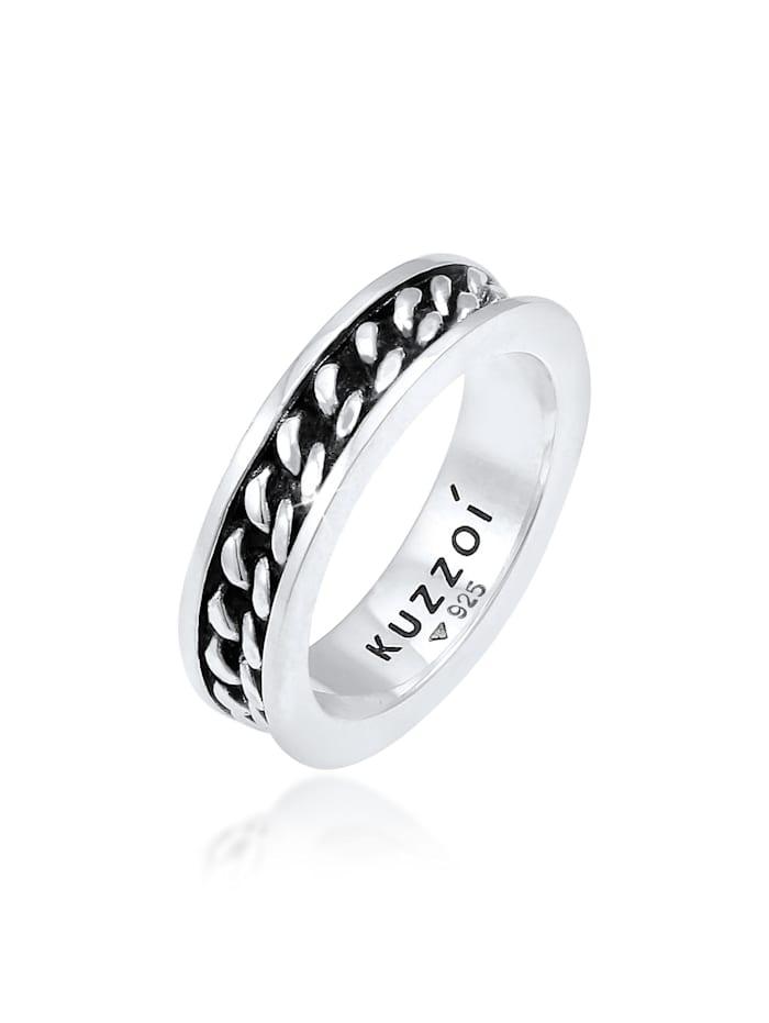 Kuzzoi Ring Herren Bandring Panzer Design Trend 925 Silber, Silber