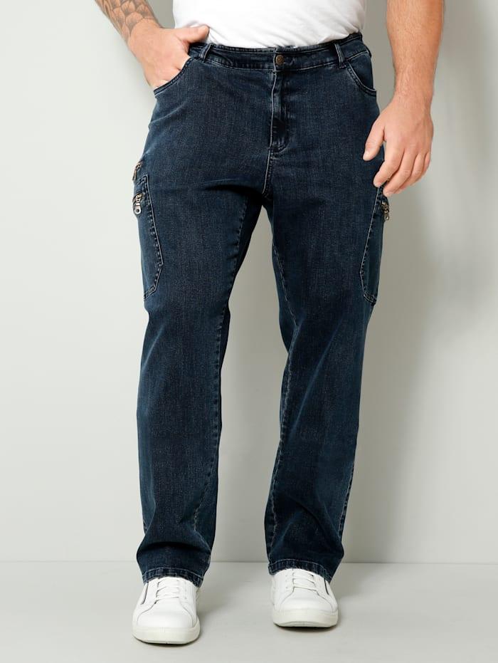 Men Plus Jeans met knoop-/ritssluiting, Blauw/Zwart