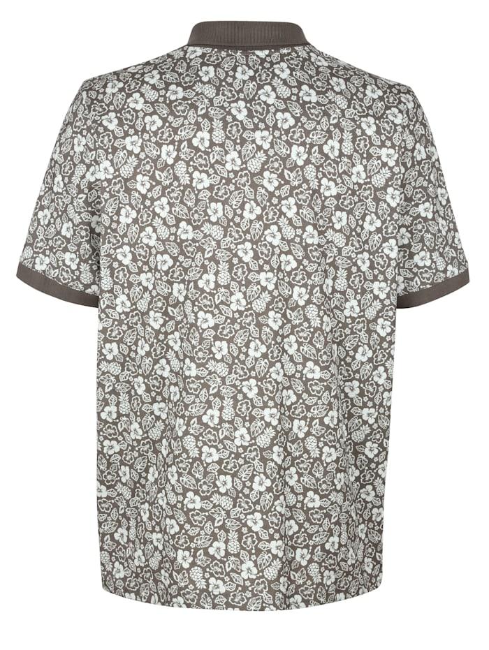 Poloshirt mit Blumendruck rundum