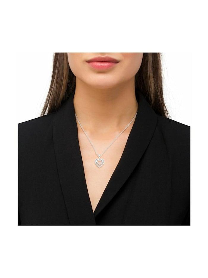 Kette mit Anhänger für Damen mit Herz-Anhänger, glänzendes Silber 925, Zirkonia
