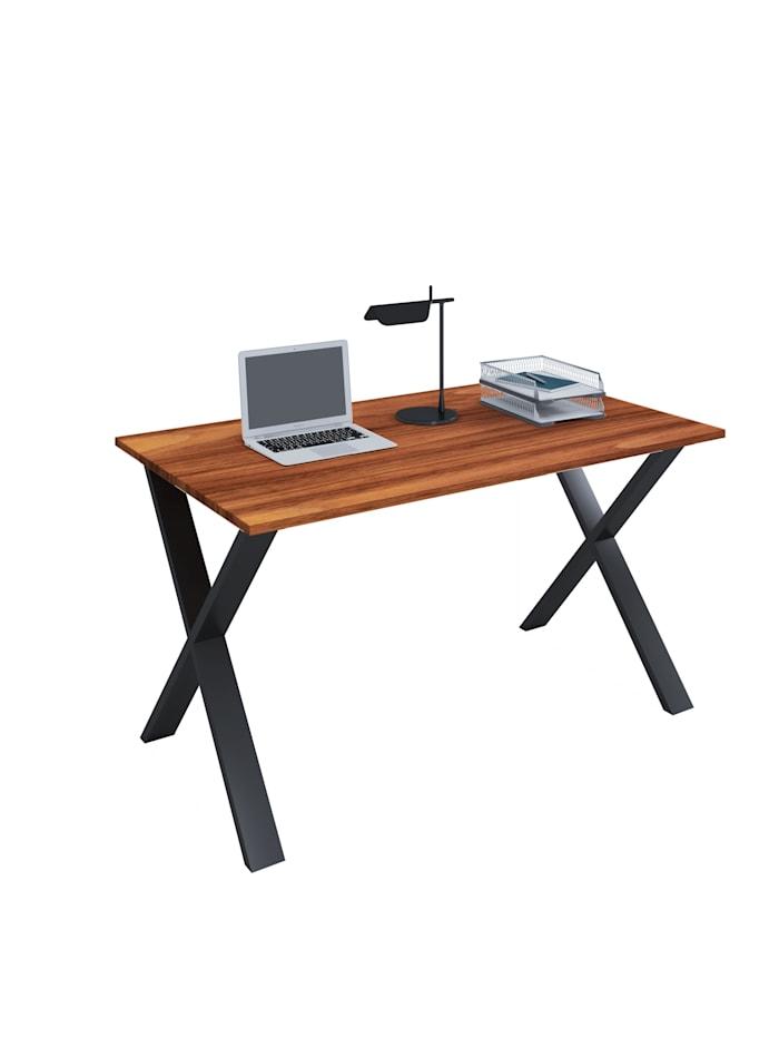 VCM Büromöbel Schreibtisch Lona X Alu Schwarz, B. 110 x T. 50 cm: Kern-Nussbaum