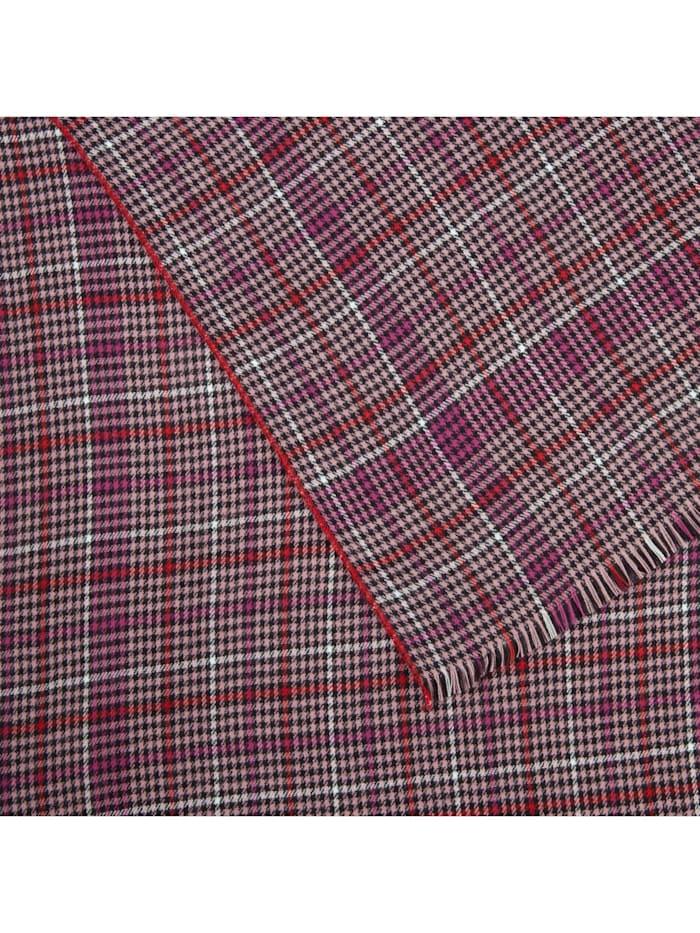Karo-Schal mit Kontrast-Stitching