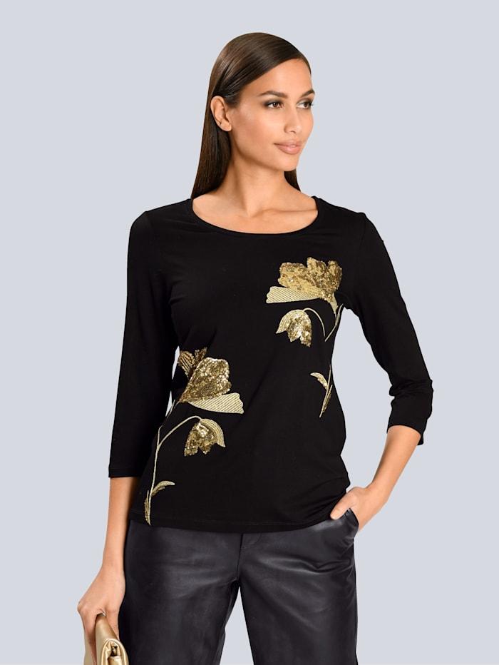 Alba Moda Shirt mit platziertem Druck, Schwarz/Beige
