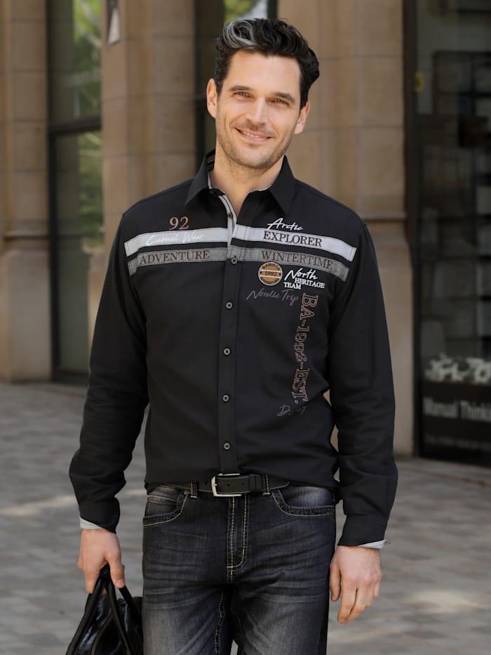 BABISTA Overhemd met luchtdoorlatende structuur, Zwart