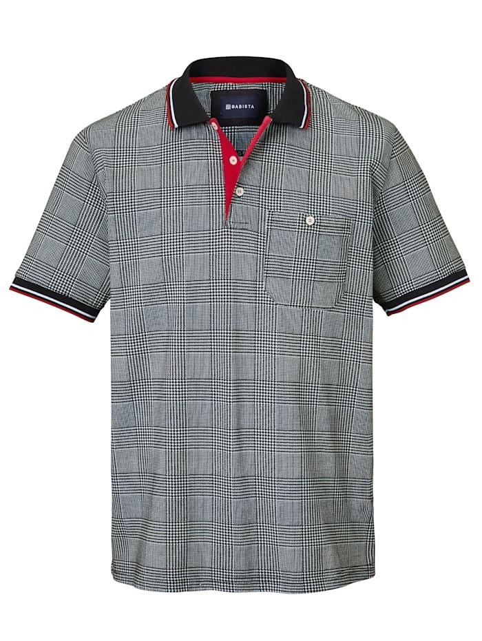 BABISTA Poloshirt met trendy pied-de-pouledessin, Zwart/Wit/Rood