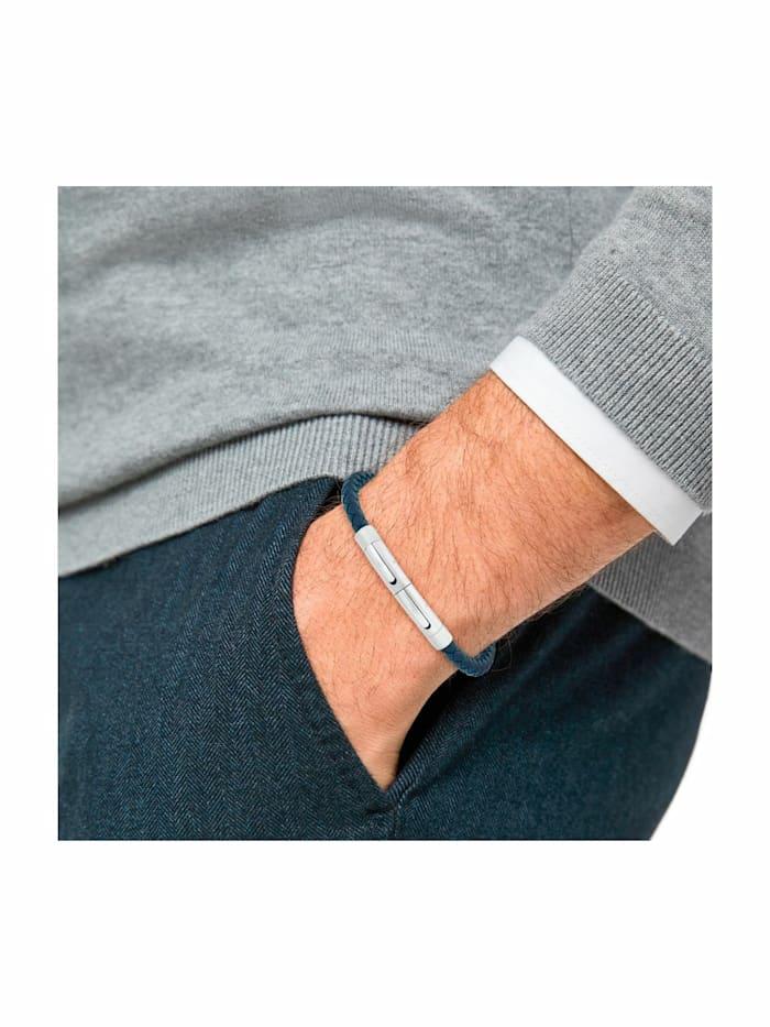 Armband für Herren, Leder, Edelstahl blau