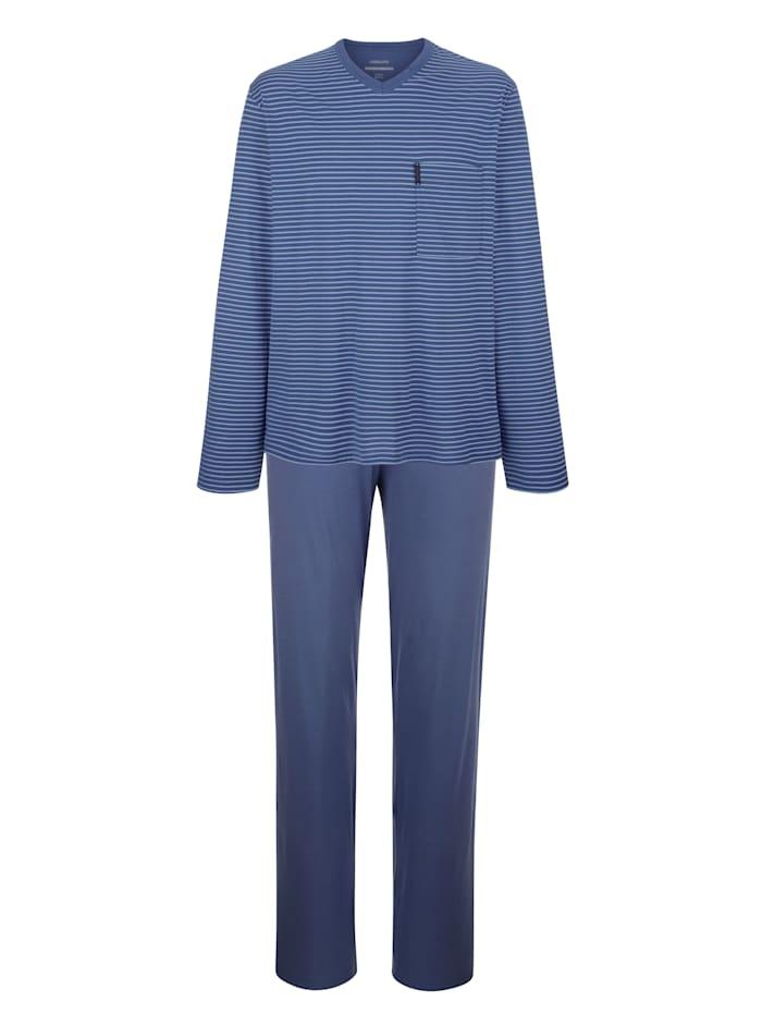 Ammann Pyjama à motif rayé tissé teint, Bleu ciel