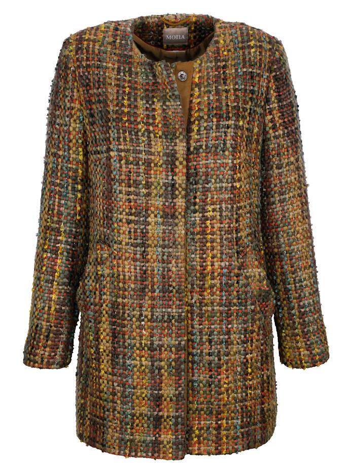 Coat with bouclé finish
