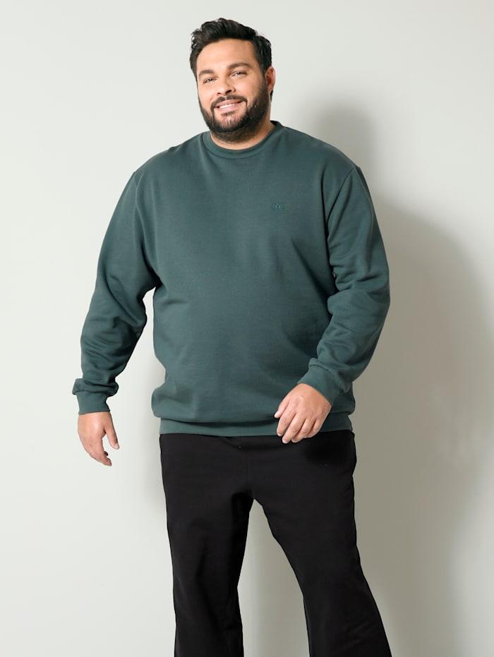 Men Plus Sweatshirt van zuiver katoen, Salie