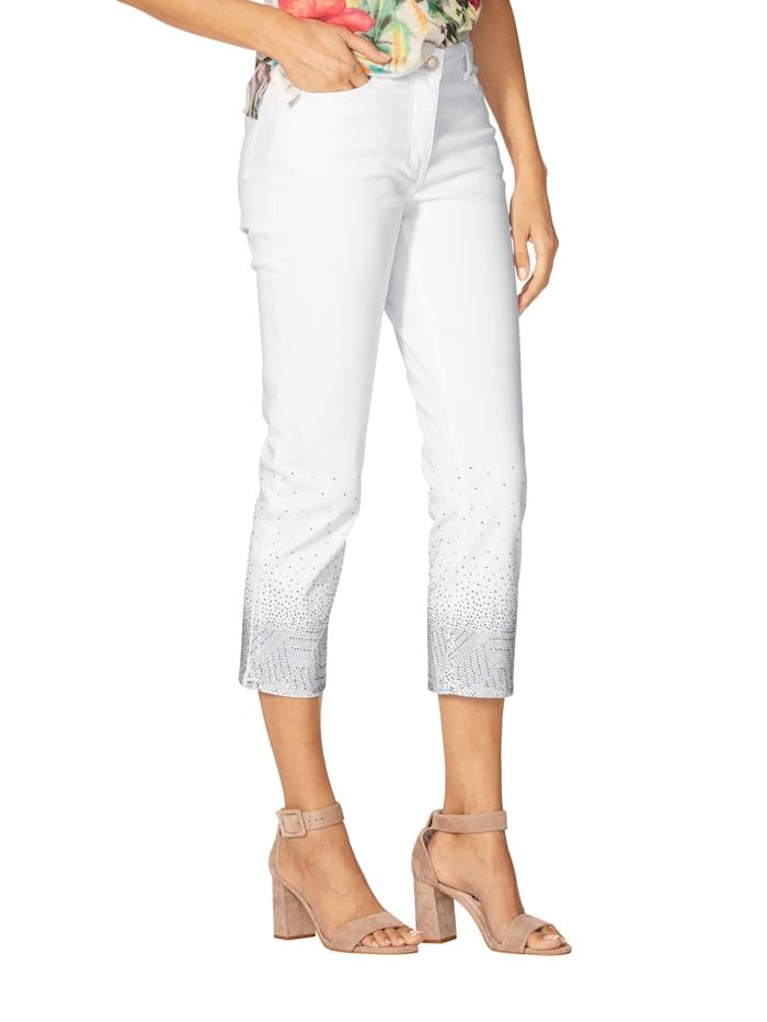 AMY VERMONT 7/8-Jeans mit Strasssteindekoration, Weiß