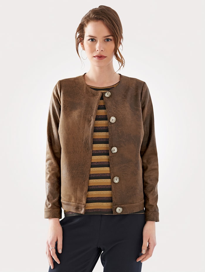 Artigiano Jacket made from eye-catching faux leather, Tan