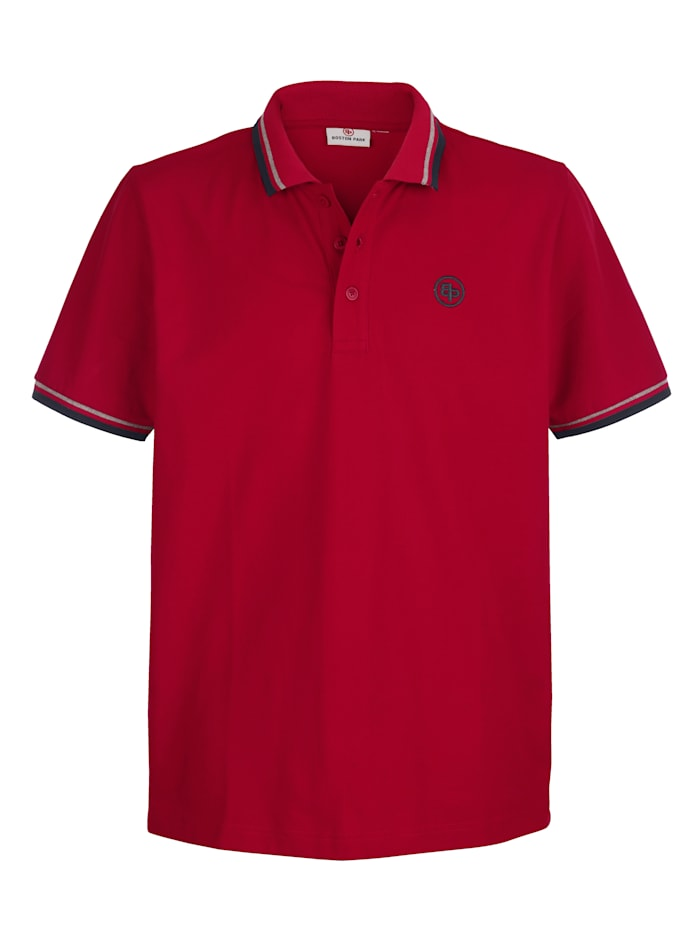 Boston Park Poloshirt met contrastkleurige details, Rood