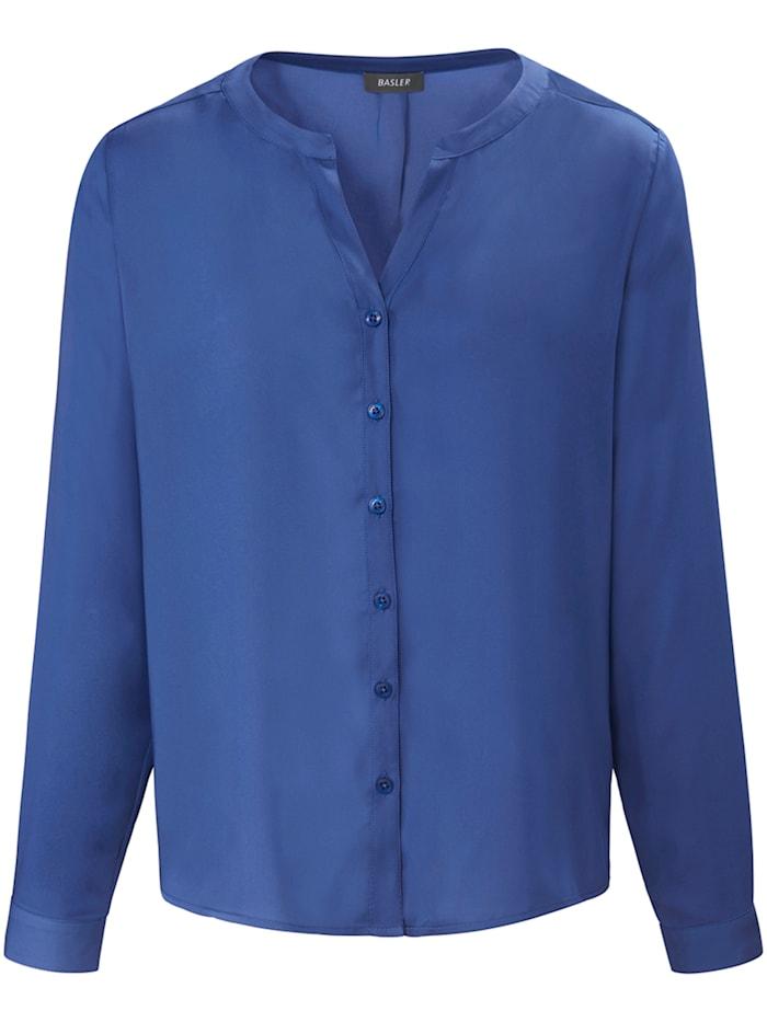 Basler Bluse mit Knopfleiste und Rundhalsausschnitt, electric blue