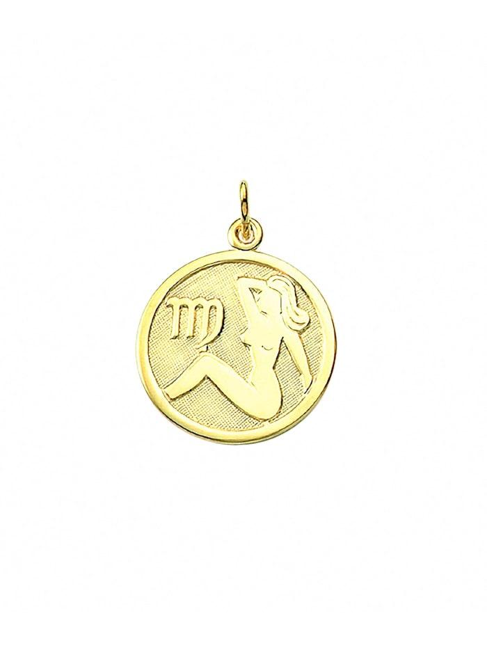 1001 Diamonds Damen & Herren Goldschmuck 333 Gold Sternzeichen Anhänger Jungfrau Ø 16 mm, gold