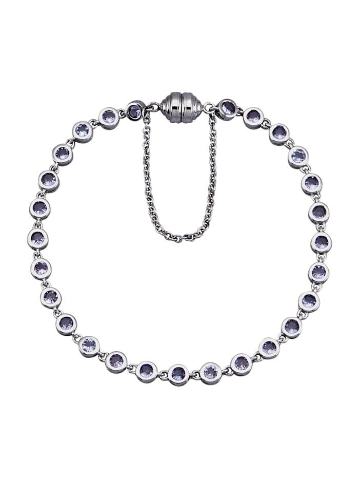 Diemer Farbstein Tansanit-Armband in Silber 925, Blau