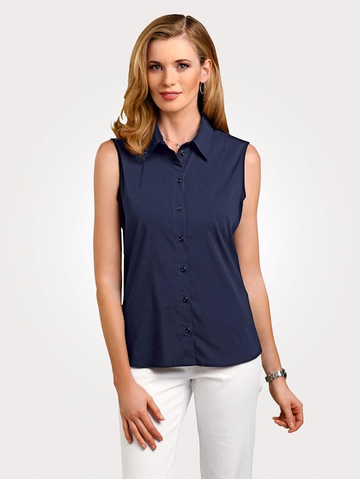 MONA Basicbluse mit Baumwolle Ohne Arm, Marineblau