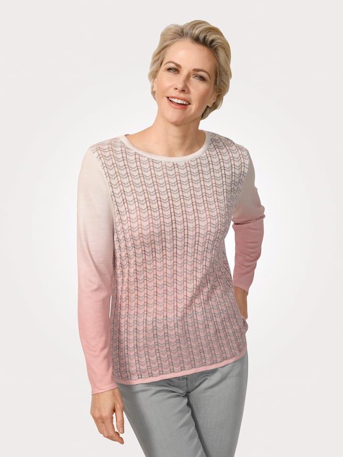 MONA Jumper in an ajour knit, Rosé/Ecru/Silver-Coloured