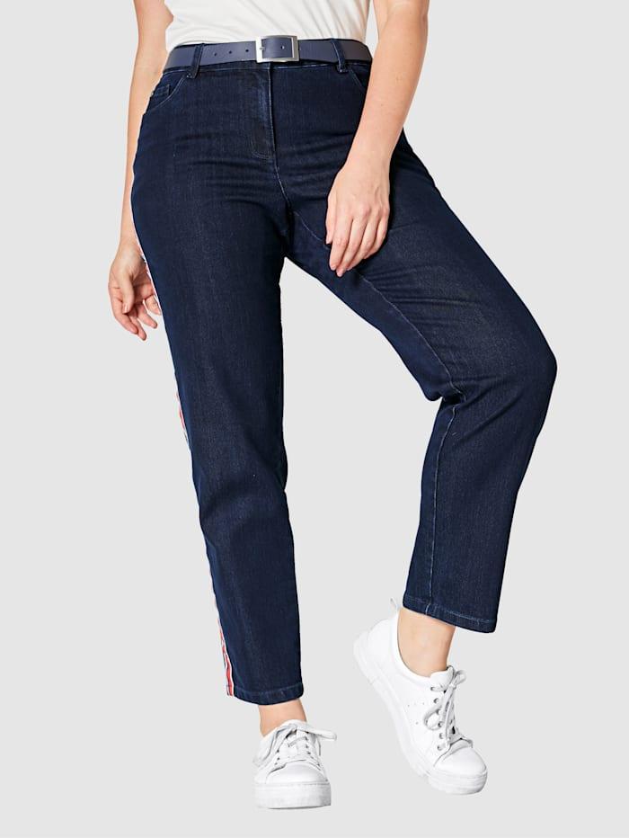 Sara Lindholm Jeans med revärer, Dark blue