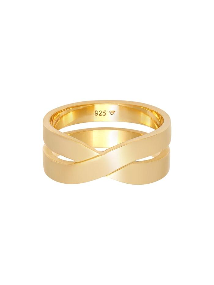 Ring Herren Bandring Überkreuz Look 925 Silber