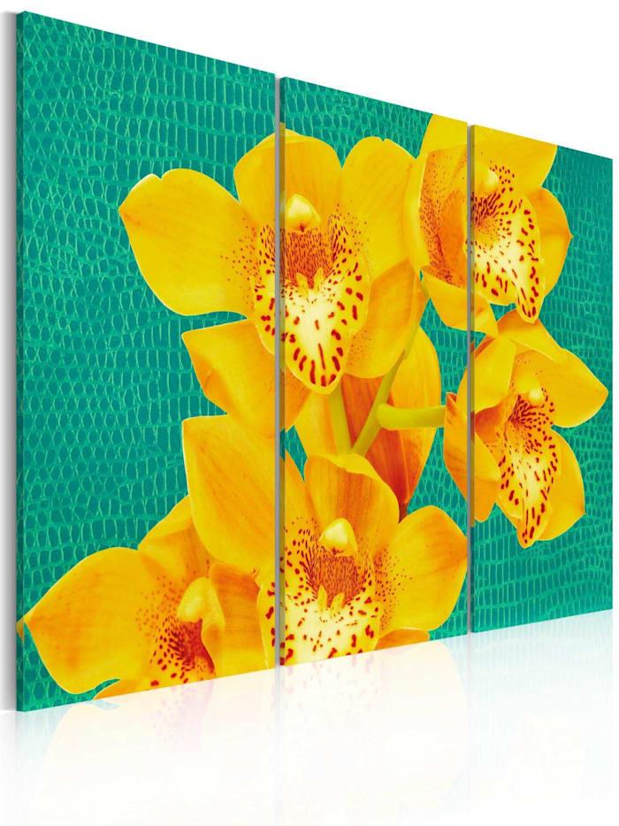 artgeist Wandbild Energieschub - Triptychon, Türkis,Gelb