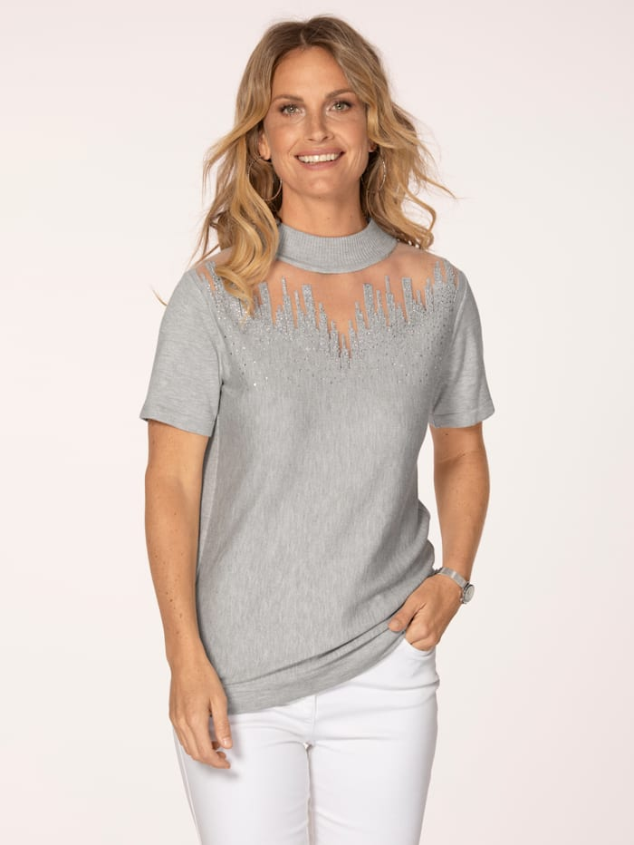 MONA Jumper with an elegant stand collar, Grey