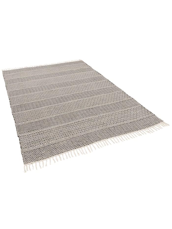 Pergamon Baumwolle Natur Kelim Teppich Sandy Stripes, Anthrazit