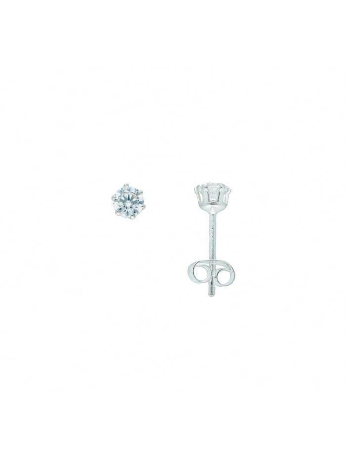 1001 Diamonds Damen Silberschmuck 925 Silber Ohrringe / Ohrstecker mit Zirkonia Ø 4 mm, silber