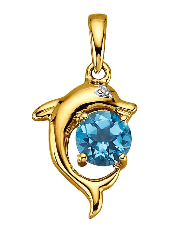 Hanger met blauwe topaas en diamant, Blauw