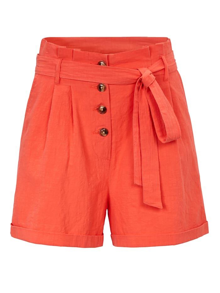 REKEN MAAR Paperbag-Shorts, koralle